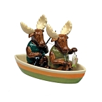 Moose in Canoe 3-Piece Salt & Pepper Shaker Set