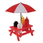 Red Plastic Picnic Table With Umbrella Condiment Set **CLEARANCE**