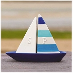 Ceramic Sailboat 3-Piece Salt & Pepper Shaker Set