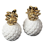 Elegant White & Gold Pineapple Salt & Pepper Shakers