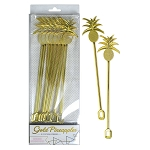 Metallic Gold Plastic Pineapple Drink Stirrers (8)