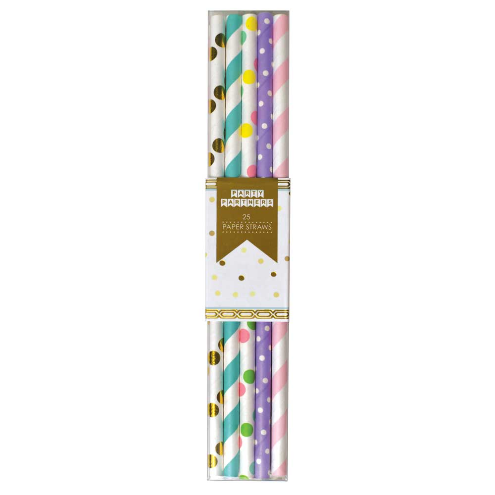 Multicolored Spiral & Dot Paper Straws