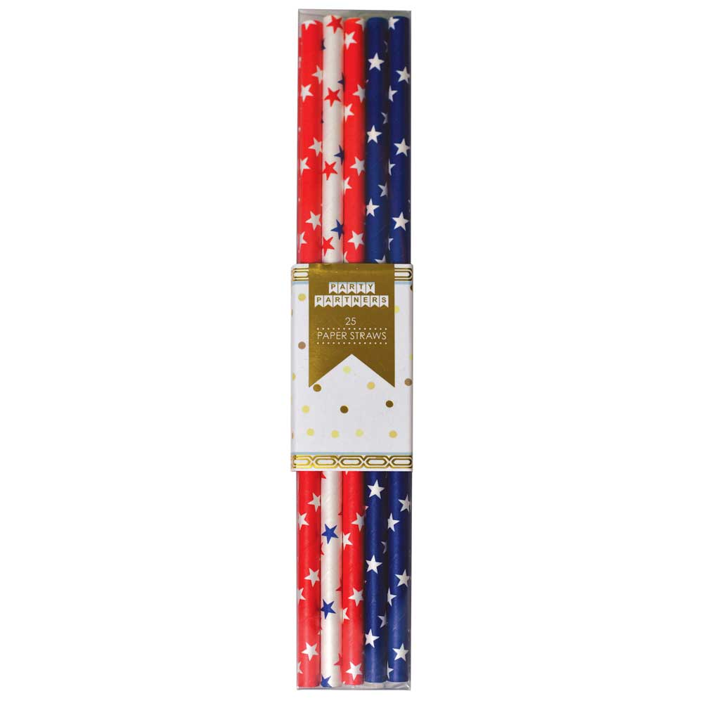 Red, White & Blue With Stars Paper Straws (25)