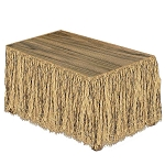 9' Natural Raffia Tropical Table Skirt
