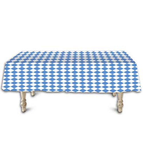 Blue & White Harlequin Lozenge (Diamond) Pattern Plastic Tablecover