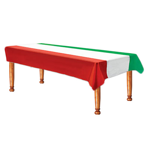 Red, White and Green Plastic Tablecover