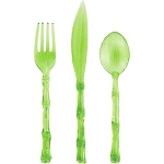 Green Bamboo Shaped Plastic Cutlery - 4 sets of 3