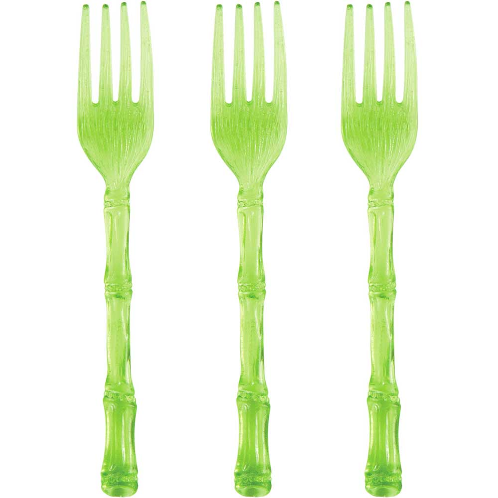 Green Bamboo Shaped Plastic Mini Cocktail Forks (20)