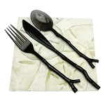 Black Twig-Shaped Plastic Cutlery - 4 sets of 3