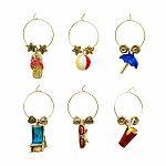 Distinctive Beach Themed Wine Charms (6)