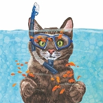 Snorkeling Tabby Cousteau Napkins (20) - 2 sizes
