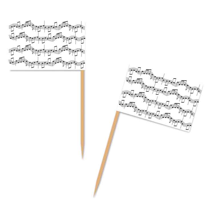 Musical Notes Flag Toothpicks (50)