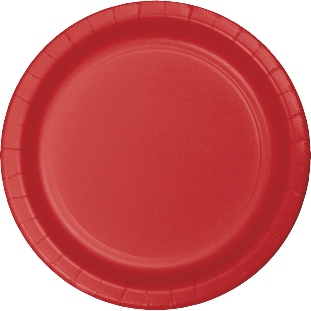 Classic Red Round Paper Plates (24) - 2 sizes