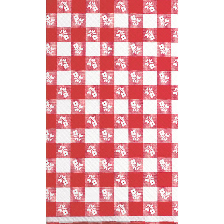 Gingham Plaid Plastic Tablecover (Blue or Red)