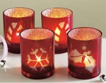 Red & Silver Glittered Holiday Votive Candle Holder