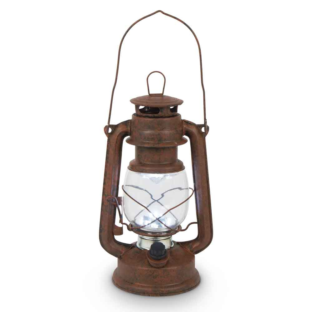 High Intensity Led Vintage Style Hurricane Lantern Rusty Brown