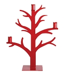 Red Metal Nordic Tree Candelabra