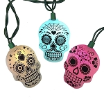 Day of the Dead Sugar Skull LED Changing Color String Lights