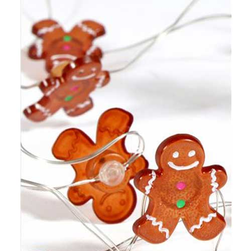 Mini Gingerbread Man Cookies Fairy Lights (30) - Battery Operated