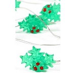 Mini Holly Leaves with Berries Fairy Lights (30) - Battery Operated