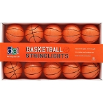 Orange & Black Basketball String Lights
