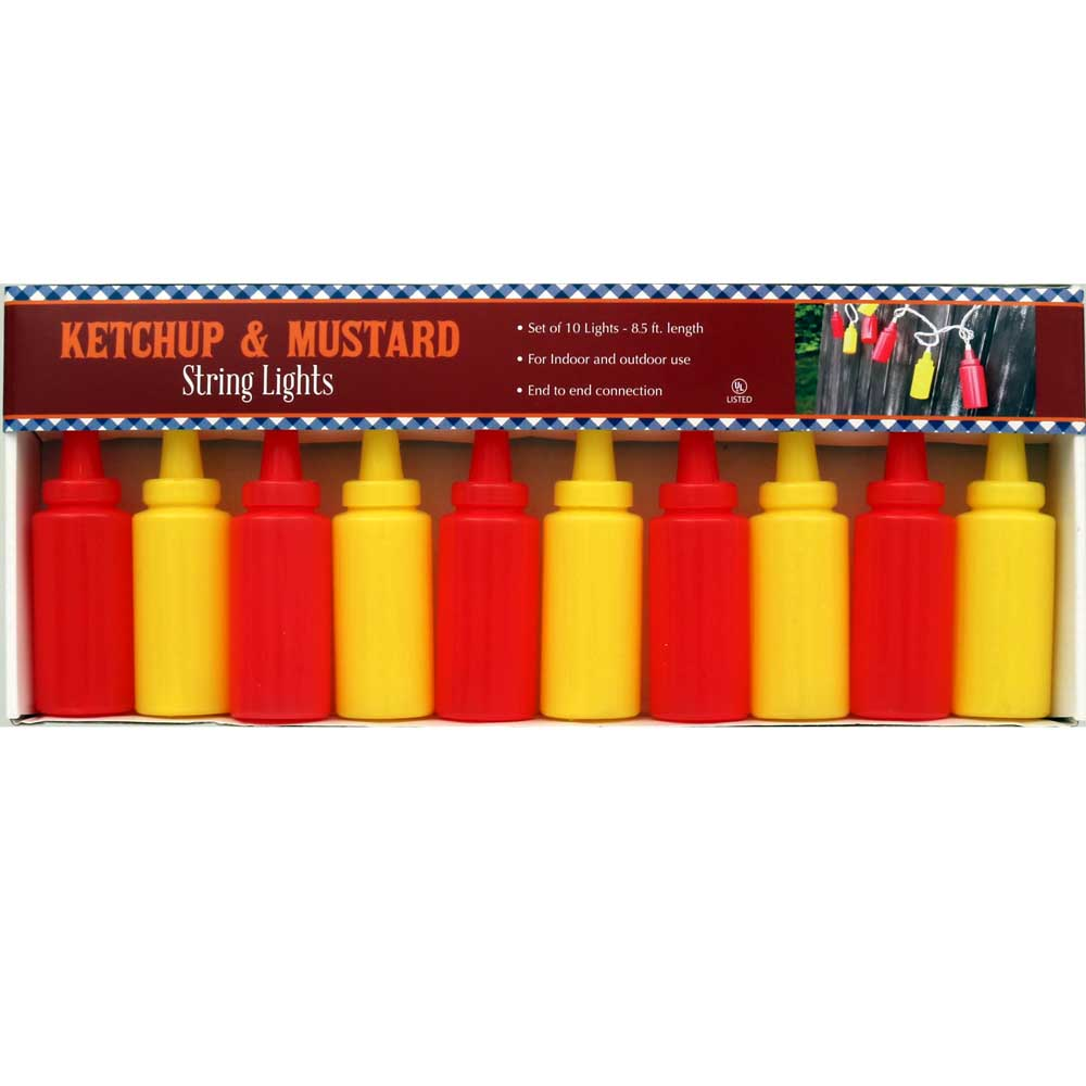 Mustard & Ketchup Plastic Squeeze Bottle String Lights