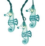 Glittered Teal Sea Horse String Lights