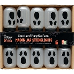 Halloween Ghost-Face Mason Jar String Lights