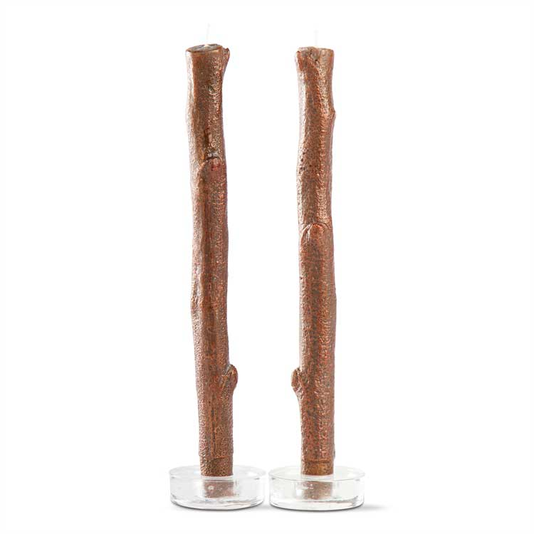 Metallic Copper Tree Bark Taper Candles