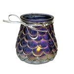 Metallic Iridescent Purple Glass Candle Holder