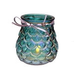 Metallic Iridescent Teal Glass Candle Holder