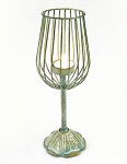 Rustic Wine Glass Wire Tealight Holder - 3 colors **CLEARANCE**