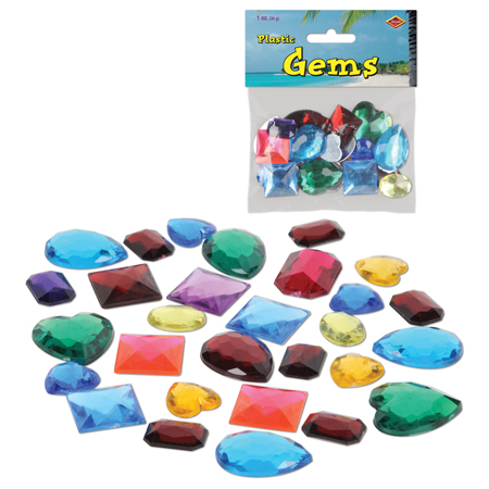 Multi-colored Plastic Gems & Jewels