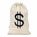 Fabric Money $  Bag With Drawstring - 2 sizes