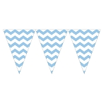 Pastel Blue Chevron Mini Plastic Pennants - 9-Foot