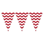 Classic Fire Engine Red Chevron Mini Plastic Pennants - 9-Foot