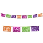 12-Foot Printed Plastic Picado-Style Day of the Dead Banner