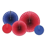 Red & Blue Bandana Accordion Paper Fans (5)