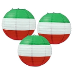 Red, White & Green Striped Round Paper Lanterns