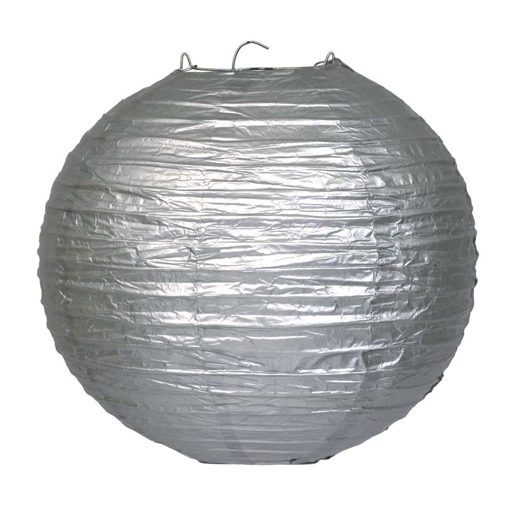 Shimmering Silver Round Paper Lantern (1) - 2 sizes