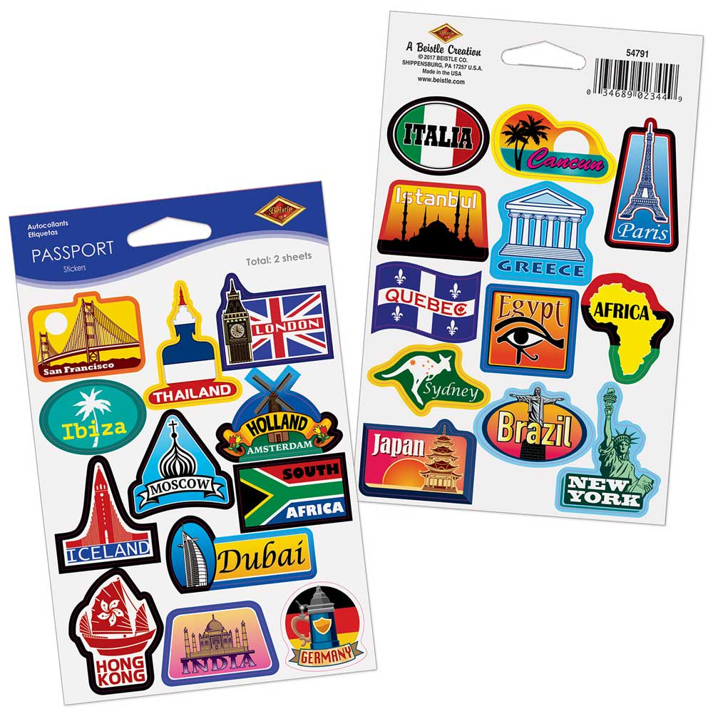Around the World Passport Stickers