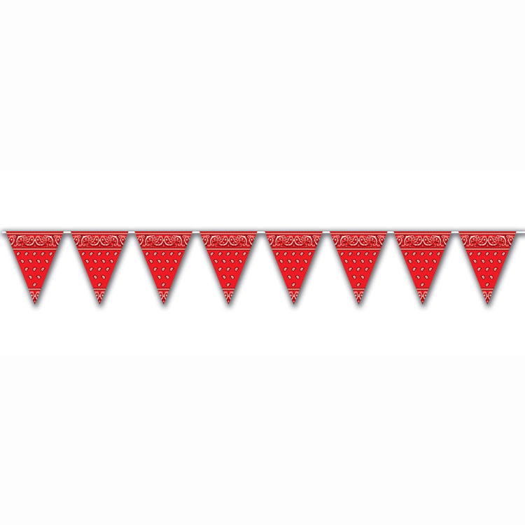 Country Western Red Bandana Pennants | Flags | Theme Party ...