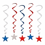 Red, Silver, & Blue Metallic Ceiling Swirls & Stars **CLEARANCE**