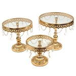Antique-Style Gold Metal Pedestal Cake Stands (3)