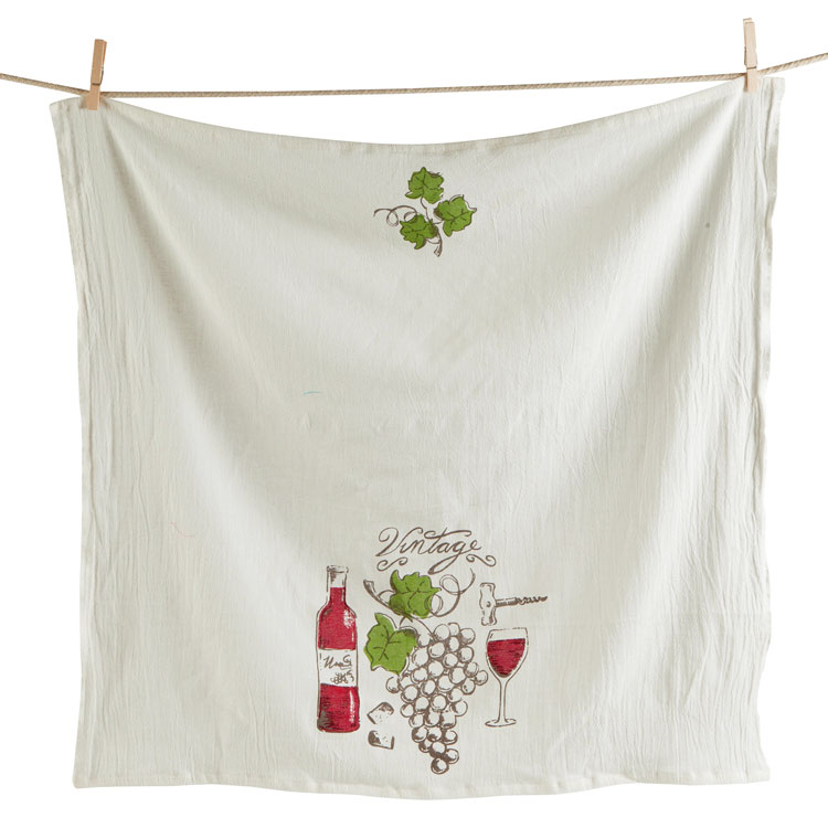 100% Cotton Vintage Wine Flour Sack Dish Towel