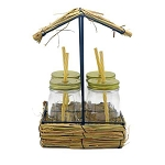 Tiki Hut Caddy With 4 Drinking Jars & Straws