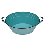 Aqua Enamel Oval Beverage Tub - 19