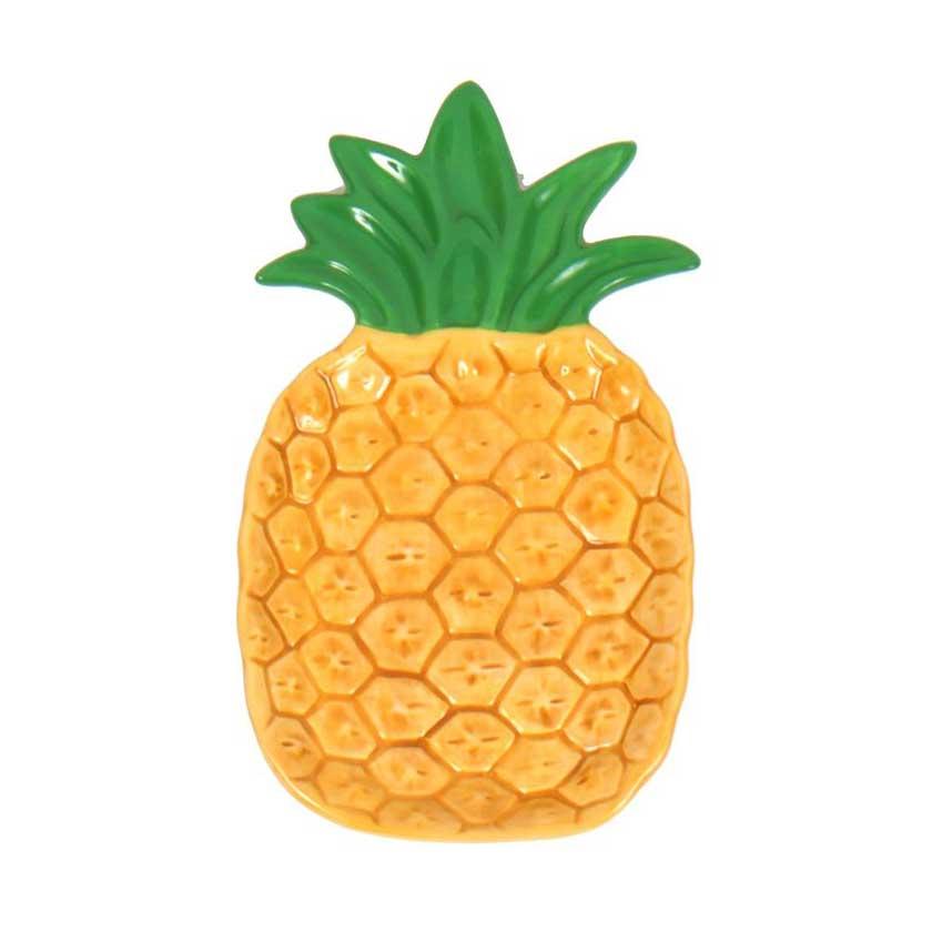 8 Golden Pineapple Ceramic Serving Dish Hawaiian Luau Tropical Themed Party Supplies