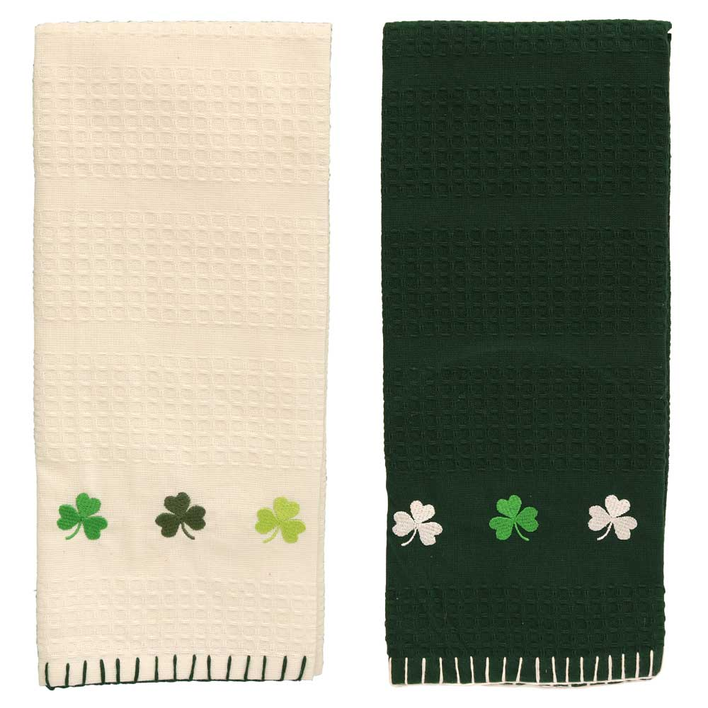 Shamrocks Embellished Dishtowel - 2 colors