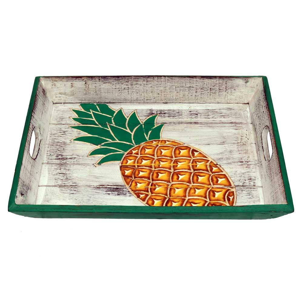 Carved Pineapple Shabby Wood Tray Hawaiian Luau Beach Surfer Themed Party Decorations